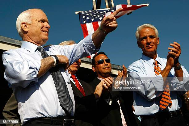 Republican presidential nominee Sen John McCain holds a campaign rally with Florida Governor Charlie Crist at Everglades Lumber and Building Supply...