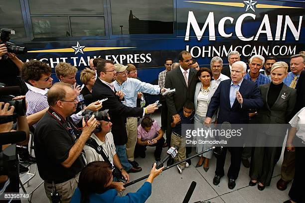Republican presidential nominee Sen John McCain makes a statement to the news media after a lunch meeting with Hispanic small business owners Florida...