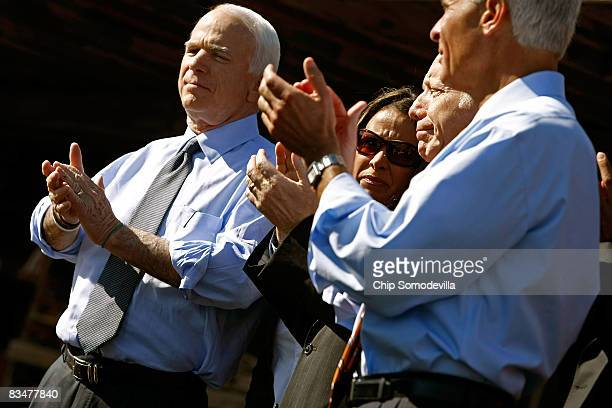 Republican presidential nominee Sen John McCain Sen Joe Lieberman and Florida Governor Charlie Crist hold a campaign rally at Everglades Lumber and...