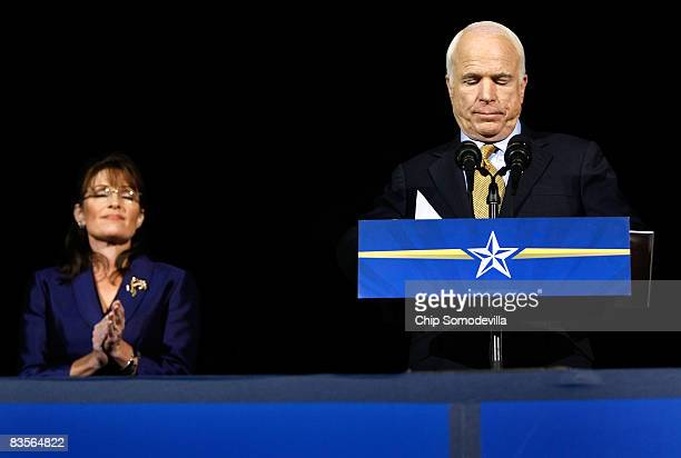 Republican presidential nominee U.S. Sen. John McCain with vice-presidential nominee Alaska Gov. Sarah Palin by his side concedes victory during his...