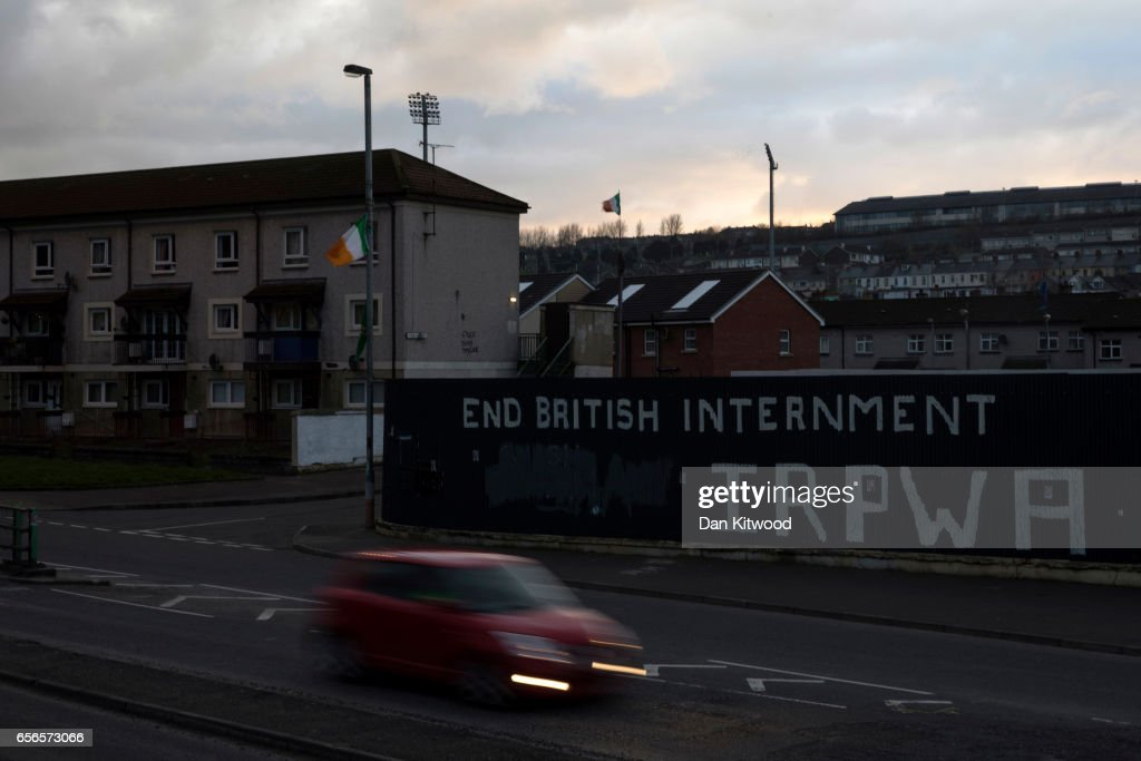 Republican propaganda close to the home of the late Martin McGuinness on March 22, 2017 in Londonderry, Northern Ireland. Northern Ireland's Former Deputy First Minister Martin McGuinness died overnight on Monday 20th March 2017. He was once chief of staff of the IRA and became Sinn Fein's chief negotiator in the talks that led to the Good Friday agreement bringing peace to Northern Ireland.