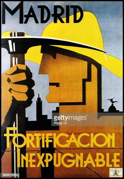 Republican Propaganda poster Madrid The impregnable fortification during the Spanish Civil War