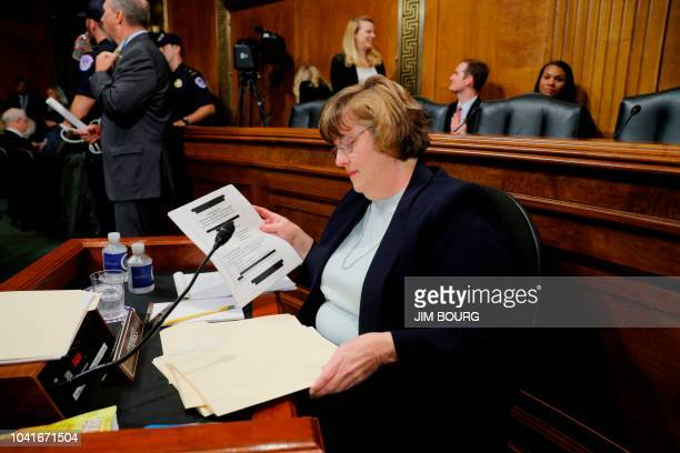 Republican prosecutor Rachel Mitchell who will be questioning Kavanaugh accuser Christine Blasey Ford prepares prior to a Senate Judiciary Committee...