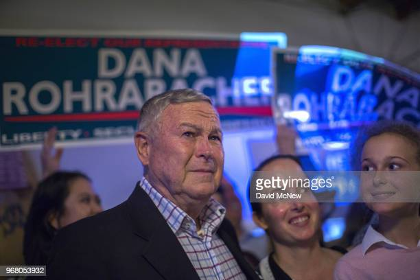 Republican Rep Dana Rohrabacher 48th District speaks to supporters on election night at his campaign headquarters on June 5 2018 in Costa Mesa...