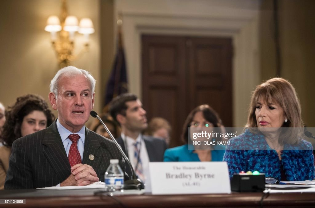 US Republican Representative from Alabama Bradley Byrne speaks during a House Administration Committee hearing on 'Preventing Sexual Harassment in the Congressional Workplace' on Capitol Hill in Washington, DC, on November 14, 2017 as Democratic Representative from California Jackie Speier looks on. /