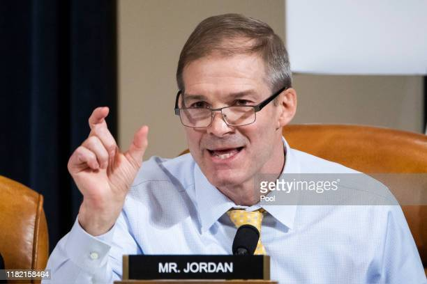 Republican Representative from Ohio Jim Jordan questions Charge d'Affaires at the US embassy in Ukraine Bill Taylor during the House Permanent Select...