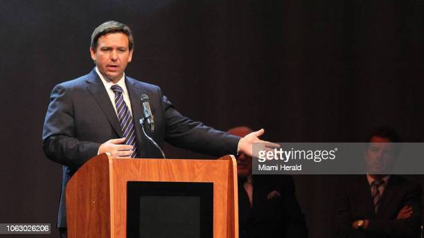 Republican Ron DeSantis here speaking in Miami on September 9 has claimed the race for the Florida governorship after Democrat Andrew Gillum conceded...
