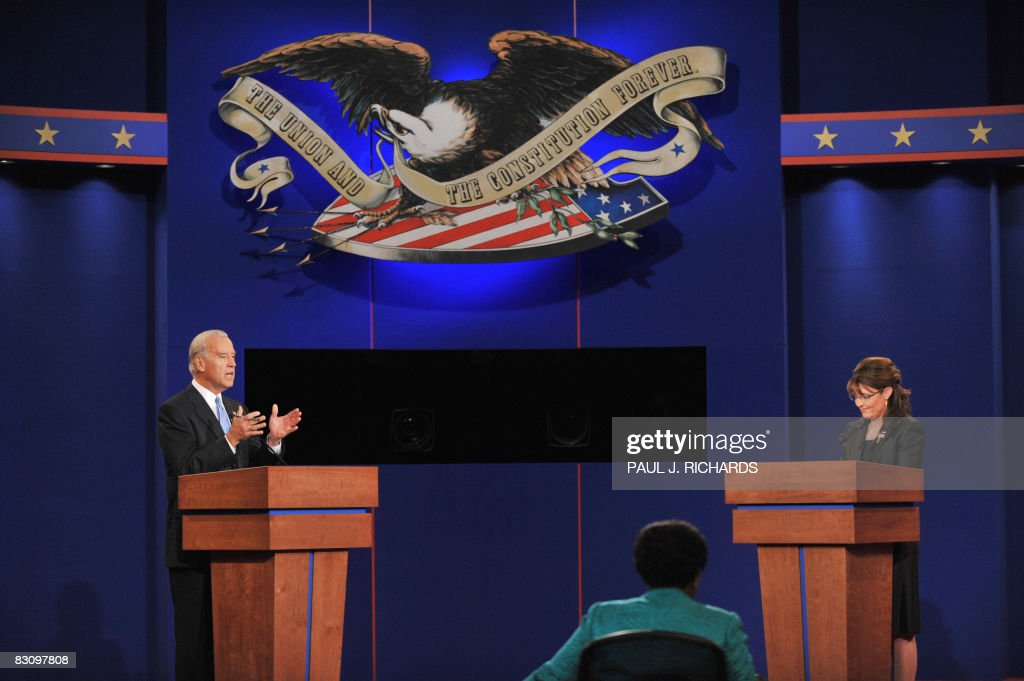 Republican Sarah Palin (R) and Democrat Joseph Biden (L) participate in the vice presidential debate October 2, 2008 at Washington University in St. Louis, Missouri. Vice presidential nominees Palin and Biden clashed at their crucial vice presidential debate, with the Alaska governor under pressure to quell questions about her knowledge and experience.