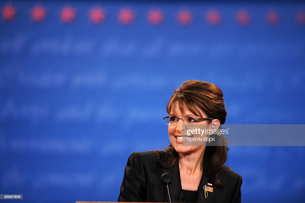 Republican Sarah Palin participates in the vice presidential debate with Democrat Joseph Biden October 2, 2008 at Washington University in St. Louis, Missouri. Vice presidential nominees Palin and Biden clashed at their crucial vice presidential debate, with the Alaska governor under pressure to quell questions about her knowledge and experience.