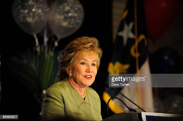 S Republican Sen Elizabeth Dole speaks as she concedes defeat in her reelection bid for the Senate on November 4 2008 at The Train Depot in Salisbury...