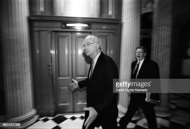 Republican Sen Phil Gramm of Texas in the halls the US Capitol Building on the first day of the Senate Impeachment Trial of President Bill Clinton on...