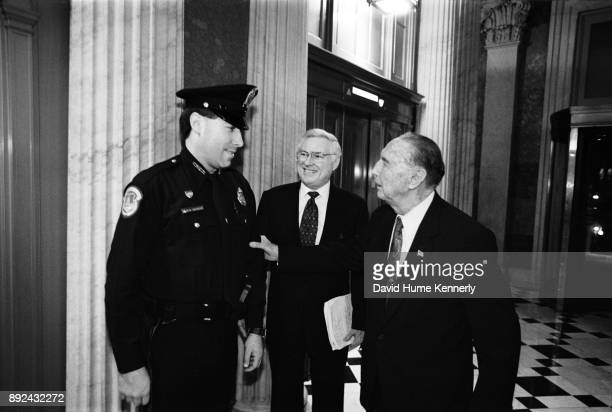 Republican Sen Strom Thurmond of South Carolina greets a Capitol policeman in the halls the US Capitol Building on the first day of the Senate...