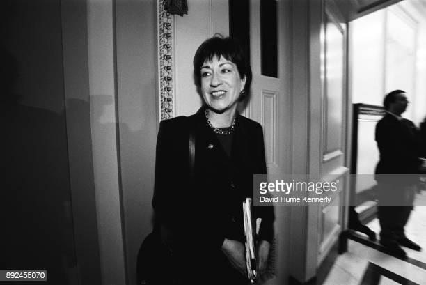 Republican Sen. Susan Collins of Maine during a break in the Clinton Impeachment Trial in the Senate on Feb. 3, 1999 in Washington, DC.