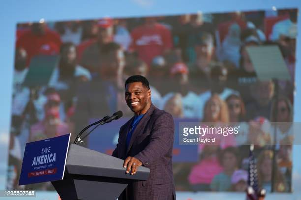 Republican Senate candidate Herschel Walker speaks at a rally featuring former US President Donald Trump on September 25, 2021 in Perry, Georgia....