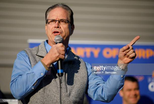 Republican Senate candidate Mike Braun speaks during a campaign stop on November 3 2018 in Greenwood Indiana Braun is locked in a tight race with...