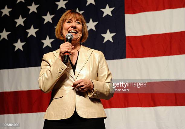 S Republican Senate candidate Sharron Angle speaks at a getoutthevote rally at The Orleans October 29 2010 in Las Vegas Nevada Recent polls show...