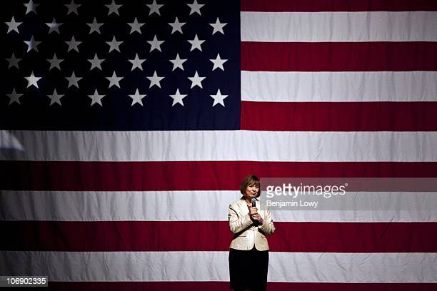 Republican Senate nominee Sharon Angle, a Tea Party favorite, addresses a supportive crowd during a campaign event in the New Orleans Hotel and...