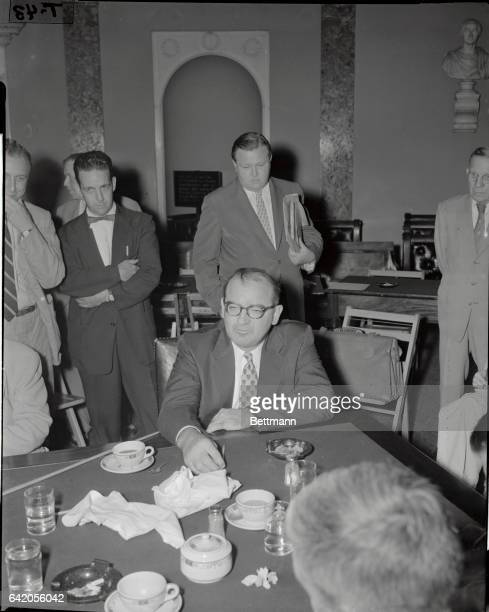 Republican Senator Joseph R McCarthy of Wisconsin after a closed meeting of his investigating subcommittee in Washington of his investigating...