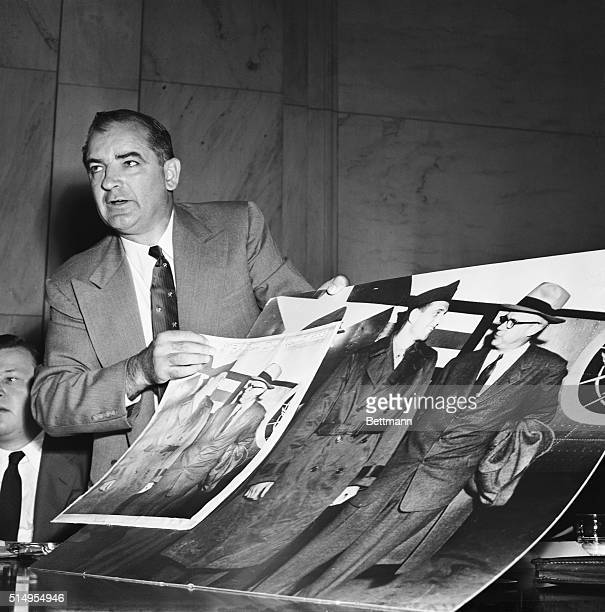 """Republican Senator Joseph R. McCarthy of Wisconsin attempts to persuade Army Secretary Robert Stevens, , to agree that it was """"not significant"""" that..."""