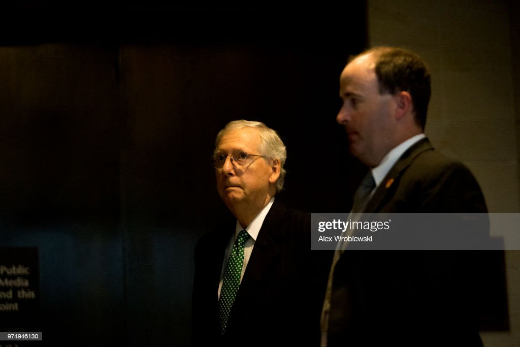 Republican Senator Mitch McConnell (R-KY) leaves a meeting on Capitol Hill on June 14, 2018 in Washington, DC. The inspector general released a report Thursday about a series of failures by officials in charge of the investigation.