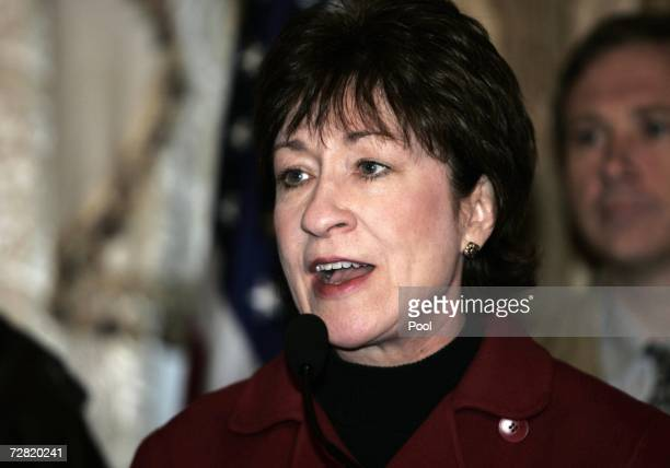 Republican Senator Susan Collins from Maine, speaks during a press conference on December 14, 2006 in Baghdad, Iraq. There are six U.S Senators...