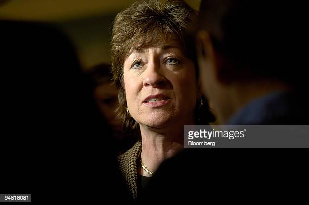 "Republican senator Susan M. Collins of Maine, speaks with reporters at the conclusion of the annual ""Washington People"" luncheon during the American..."
