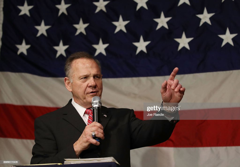 Republican Senatorial candidate Roy Moore speaks during a campaign event at Oak Hollow Farm on December 5, 2017 in Fairhope, Alabama. Mr. Moore is facing off against Democrat Doug Jones in next week's special election for the U.S. Senate.