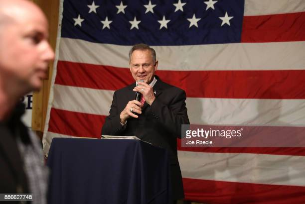 Republican Senatorial candidate Roy Moore speaks during a campaign event at Oak Hollow Farm on December 5 2017 in Fairhope Alabama Mr Moore is facing...