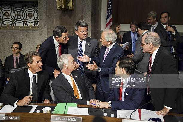 Republican Senators Jeff Flake John Barrasso Ron Johnson Bob Corker Marco Rubio and James E Risch discuss their plans before a Senate Foreign...