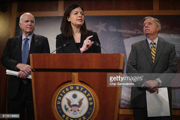 Republican Senators Kelly Ayotte , Lindsey Graham and John McCain , chairman of the Senate Armed Services Committee, hold a news conference at the...