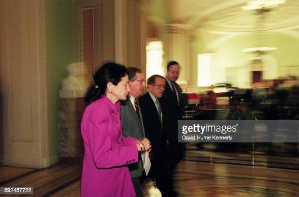 Republican senators Olympia Snowe of Maine Mitch McConnell of Kentucky Ted Stevens of Alaska and Richard Shelby of Alabama in the hallway of the US...