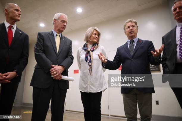 Republican senators, Sen. Rick Scott , Sen. Ron Johnson , Sen. Cynthia Lummis , Sen. Rand Paul and Sen. Tommy Tuberville speak to reporters about why...