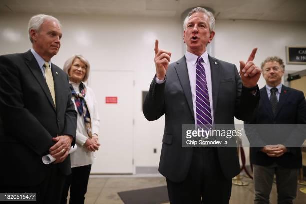 Republican senators, Sen. Ron Johnson , Sen. Cynthia Lummis , Sen. Tommy Tuberville and Sen. Rand Paul speak to reporters about why they are holding...
