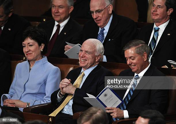 US Republican senators Susan Collins of Maine John McCaine of Arizona and Lindsey Graham of South Carolina attend President Barack Obama's address to...