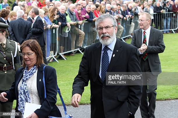 Republican Sinn Fein leader Gerry Adams arrives for the state funeral of Thomas Kent, one of 16 men executed following the 1916 Easter Rising against...