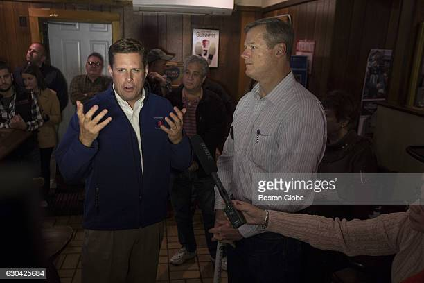 Republican State Representative Geoff Diehl campaigns with Massachusetts Governor Charlie Baker right in Brockton MA on Nov 1 2015 Diehl is running...