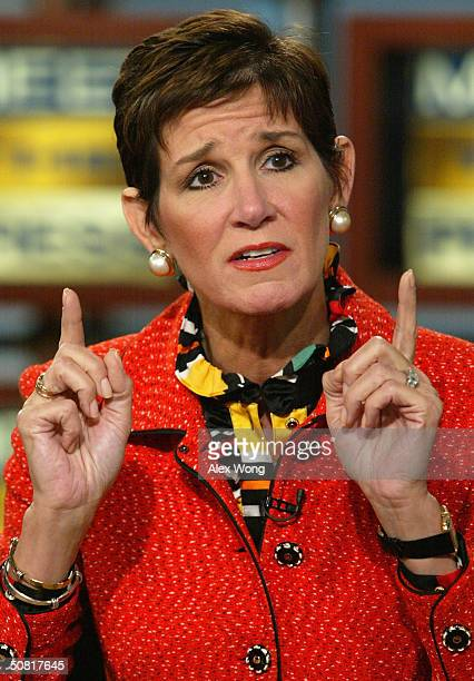 Republican strategist Mary Matalin gestures as she speaks during a roundtable discussion on NBC's Meet the Press at the NBC studios May 9 2004 in...