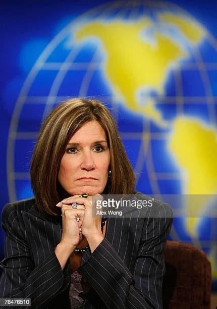 Republican strategist Mary Matalin listens during a taping of Meet the Press at the NBC studios September 2 2007 in Washington DC Matalin discussed...
