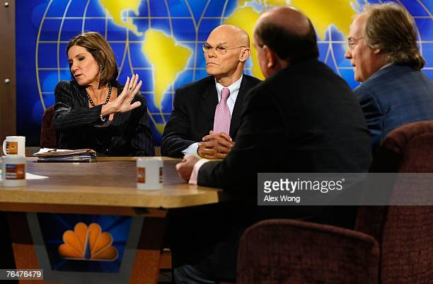 Republican strategist Mary Matalin reacts as she discusses with Democratic strategist and her husband James Carville Democratic strategist Bob Shrum...