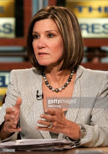 Republican strategist Mary Matalin speaks during a taping of Meet the Press at the NBC Studios June 3 2007 in Washington DC Guests discussed the 2008...