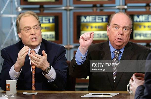 Republican strategist Mike Murphy and Democratic strategist Bob Shrum speak during a taping of 'Meet the Press' at the NBC studios April 13 2008 in...