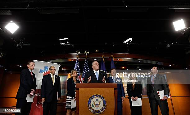 Republican Study Committee Chairman US Rep Steve Scalise introduces the RSC's American Health Care Reform Act during a press conference with other...