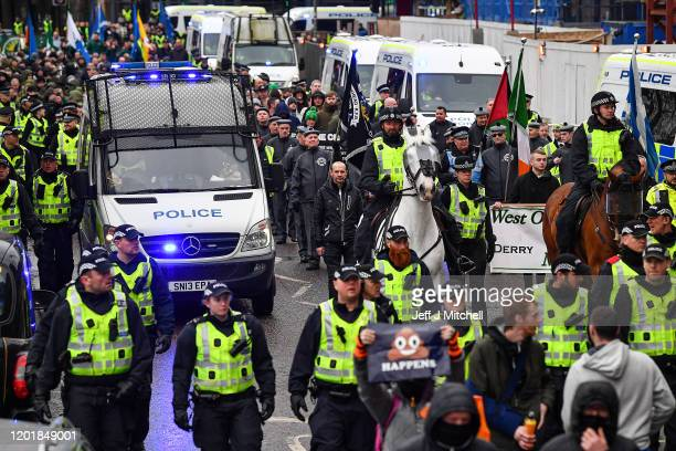 Republican supporters march through the city to commemorate the anniversary of Bloody Sunday on January 25 2020 in Glasgow Scotland This month marks...