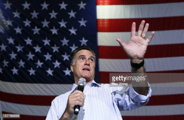 Republican US presidential candidate Mitt Romney speaks during a campaign rally at Westerville South High School September 26 2012 in Westerville...