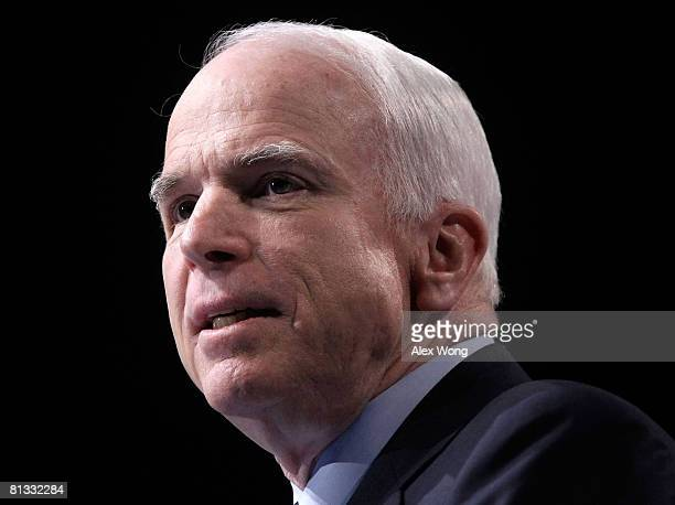 Republican US presidential candidate Sen John McCain addresses the 2008 American Israel Public Affairs Committee Policy Conference at the Washington...