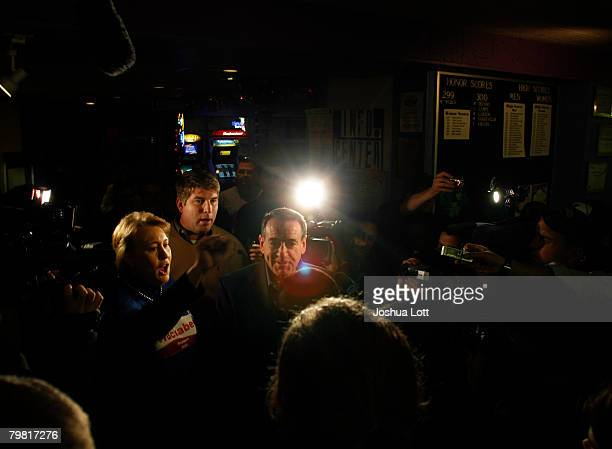Republican U.S. Presidential hopeful and former Arkansas Gov. Mike Huckabee and his wife Janet speak to the media during a campaign stop at Olympic...