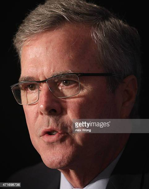 Republican US presidential hopeful and former Florida governor Jeb Bush participates in a discussion with the Editor of the National Review Rich...