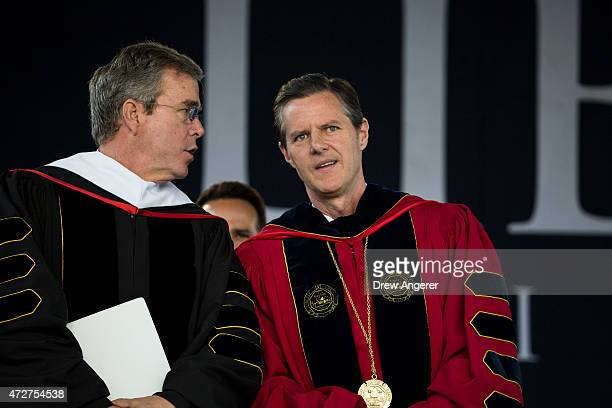 Republican US presidential hopeful and former Florida governor Jeb Bush and Liberty University president Rev Jerry Falwell Jr arrive for the...