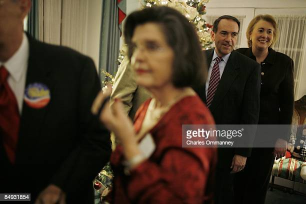 Republican US Presidential hopeful Gov Mike Huckabee and his wife Janet Huckabee attend a fundraiser hosted by supporters including former US...