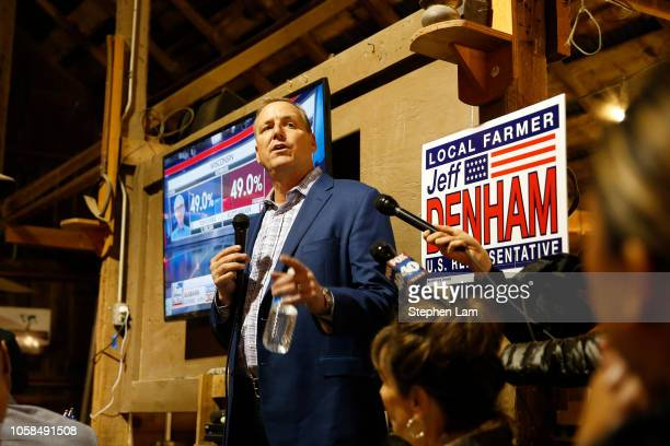 Republican US Rep Jeff Denham of California's 10th Congressional District speaks during an election night party on November 6 2018 in Modesto...